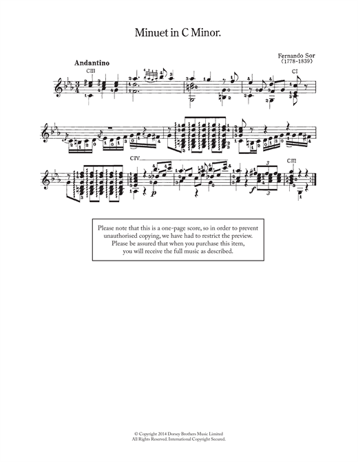 Fernando Sor Minuet In C Minor sheet music notes and chords