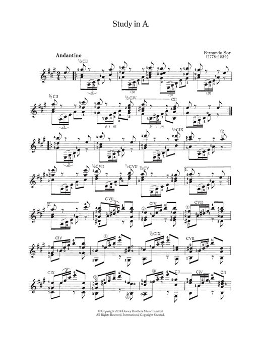 Fernando Sor Study In A sheet music notes and chords