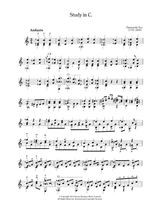 Fernando Sor Study In C sheet music notes and chords