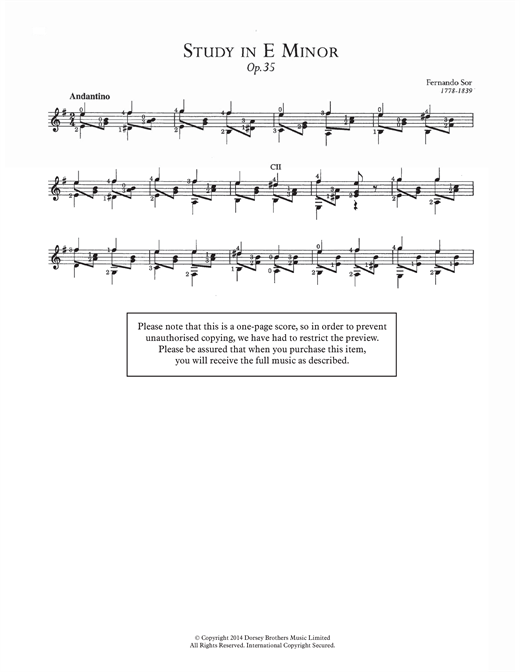 Fernando Sor Study In E Minor, Op.35 sheet music notes and chords. Download Printable PDF.