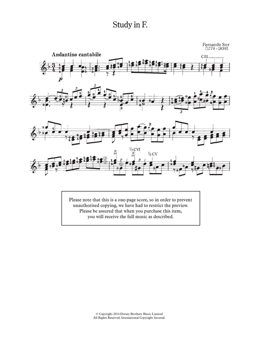 Fernando Sor Study In F sheet music notes and chords