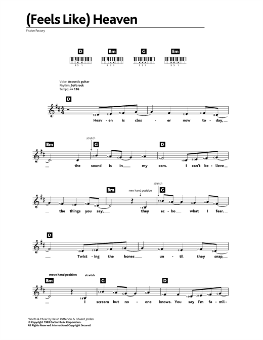 Fiction Factory (Feels Like) Heaven sheet music notes and chords. Download Printable PDF.