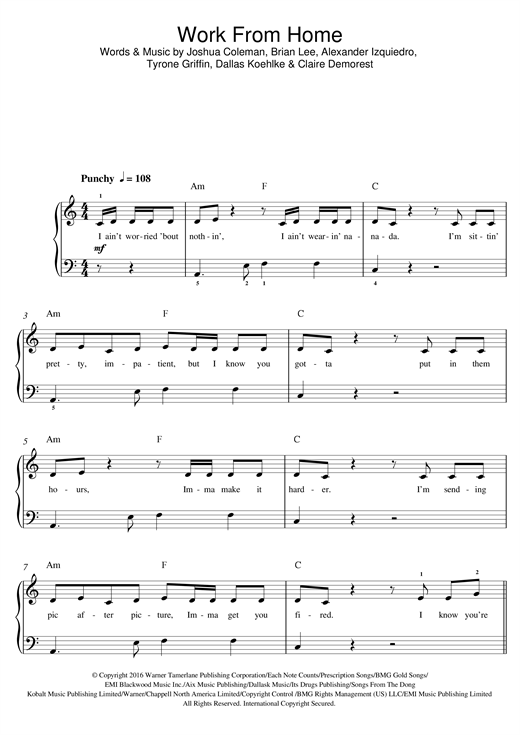 Fifth Harmony Work From Home (feat. Ty Dolla $ign) sheet music notes and chords. Download Printable PDF.