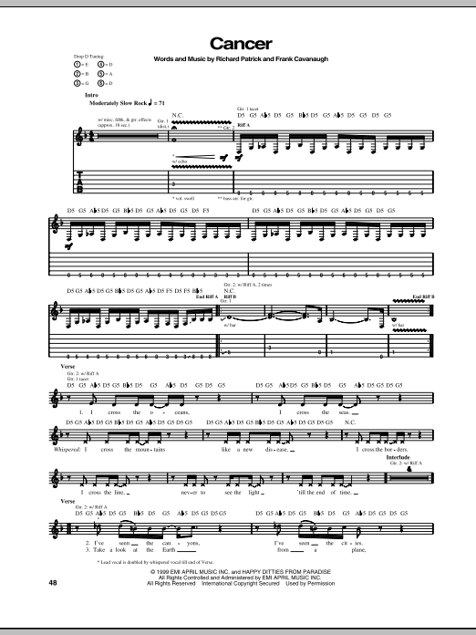 Filter Cancer sheet music notes and chords. Download Printable PDF.