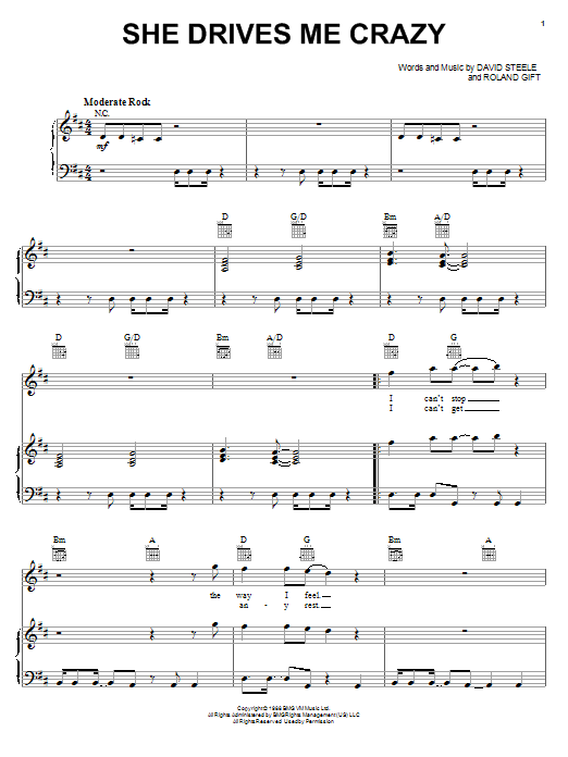 Fine Young Cannibals She Drives Me Crazy sheet music notes and chords. Download Printable PDF.