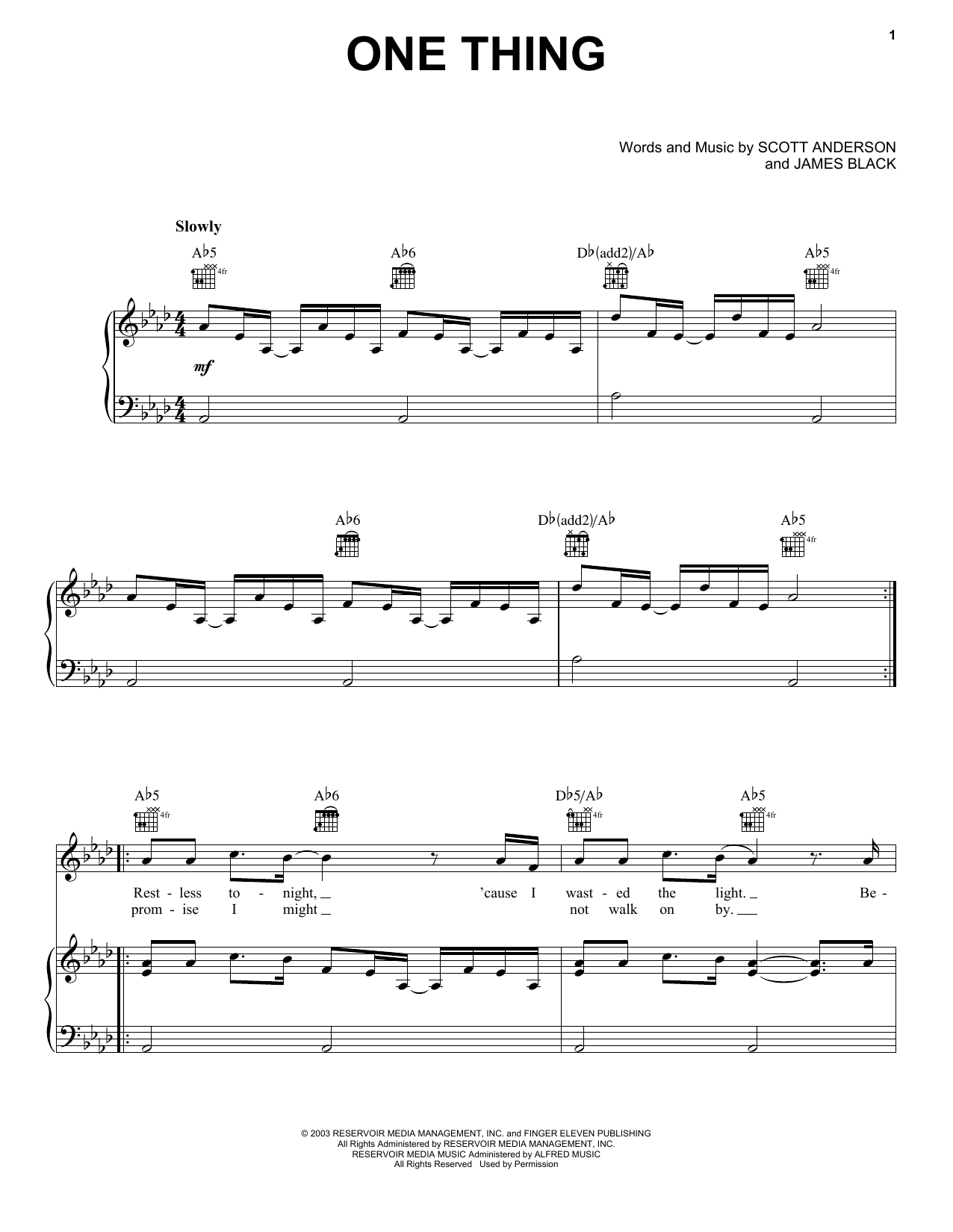 Finger Eleven One Thing sheet music notes and chords. Download Printable PDF.