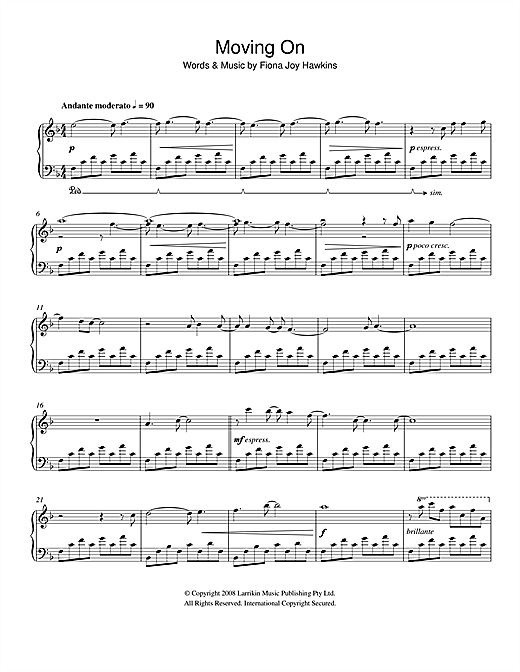Fiona Joy Moving On sheet music notes and chords. Download Printable PDF.