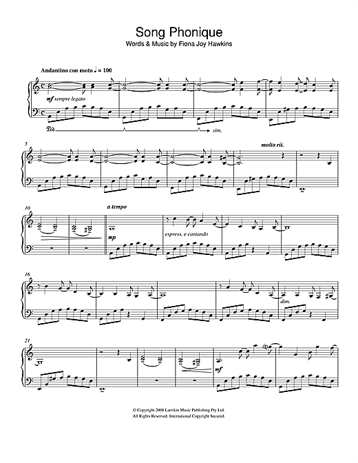 Fiona Joy Song Phonique sheet music notes and chords. Download Printable PDF.