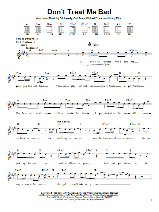 Firehouse Don't Treat Me Bad sheet music notes and chords. Download Printable PDF.