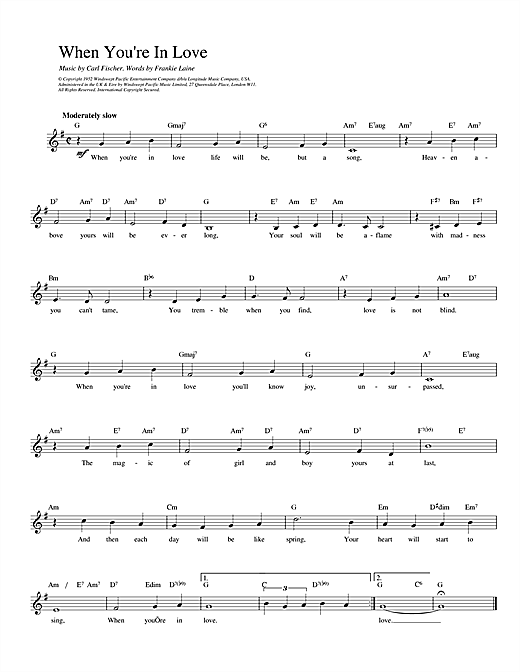 Fischer and Laine When You're In Love sheet music notes and chords. Download Printable PDF.