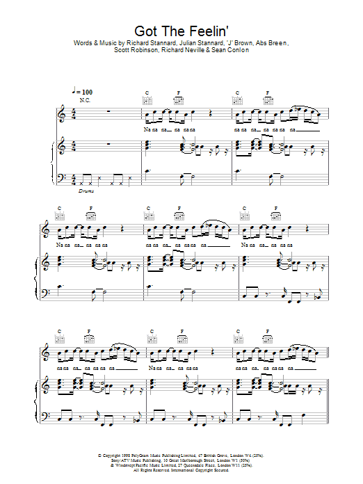 Five Got The Feelin' sheet music notes and chords. Download Printable PDF.