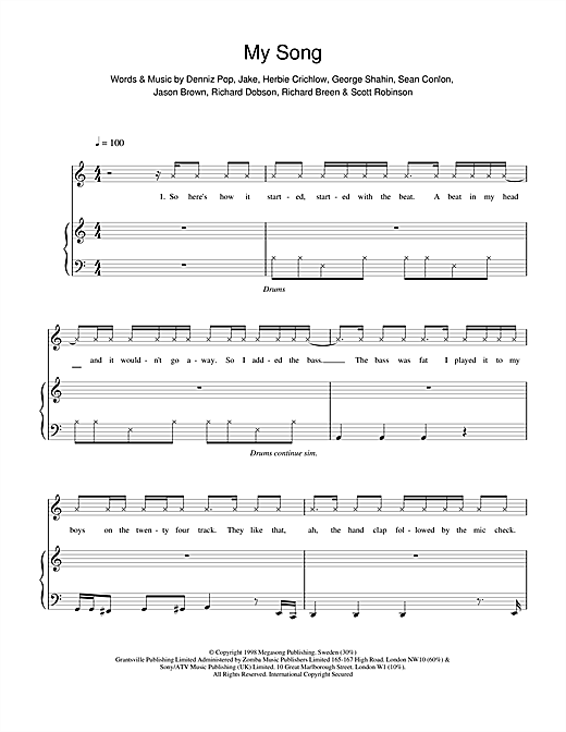 Five My Song sheet music notes and chords