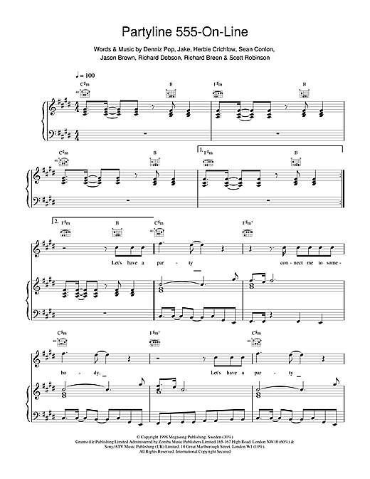 Five Partyline 555 On Line sheet music notes and chords