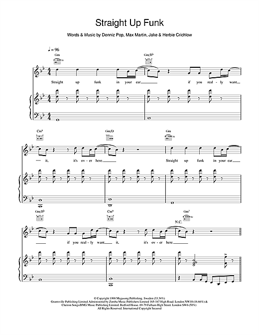Five Straight Up Funk sheet music notes and chords