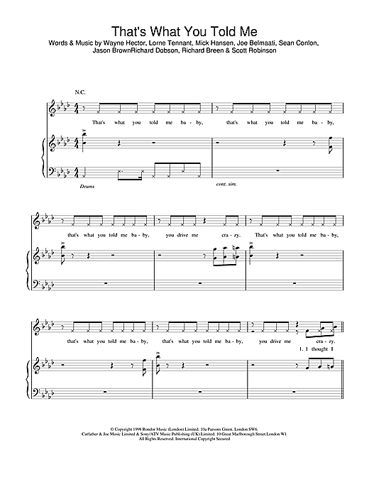 Five That's What You Told Me sheet music notes and chords