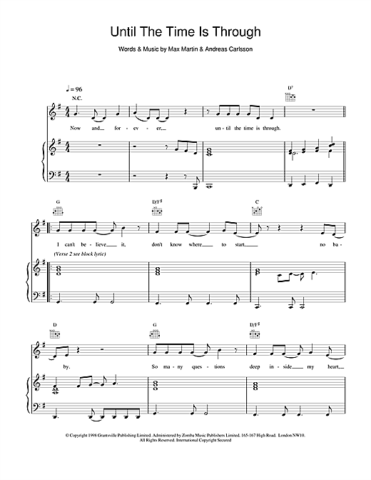 Five Until The Time Is Through sheet music notes and chords