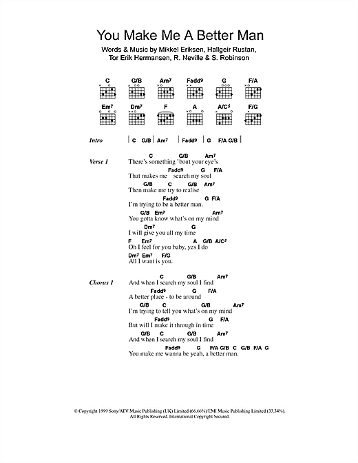 Five You Make Me A Better Man sheet music notes and chords. Download Printable PDF.