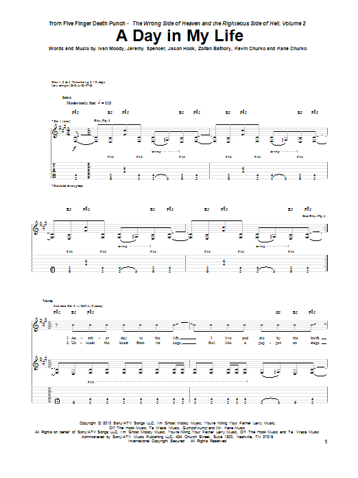 Five Finger Death Punch A Day In My Life sheet music notes and chords. Download Printable PDF.