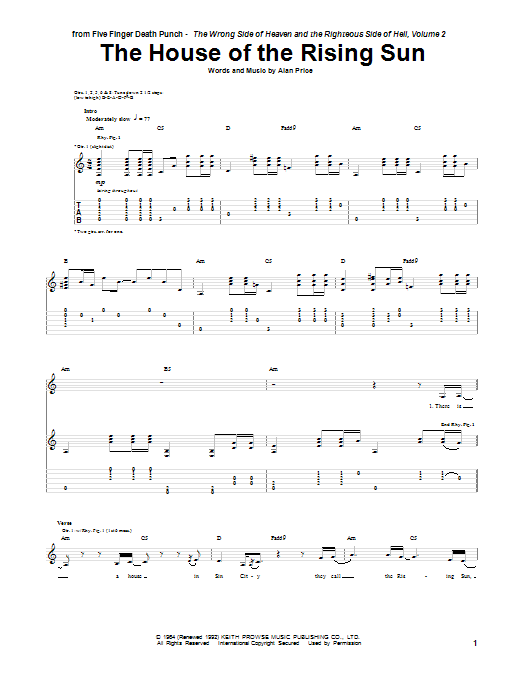 Five Finger Death Punch The House Of The Rising Sun Sheet Music Pdf Notes Chords Folk Score Guitar Tab Download Printable Sku 154922,Bedroom Wall Decals Quotes