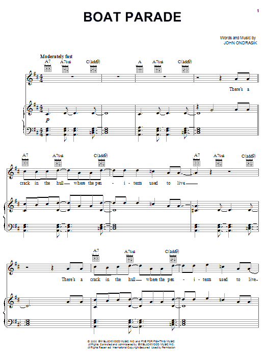 Five For Fighting Boat Parade sheet music notes and chords