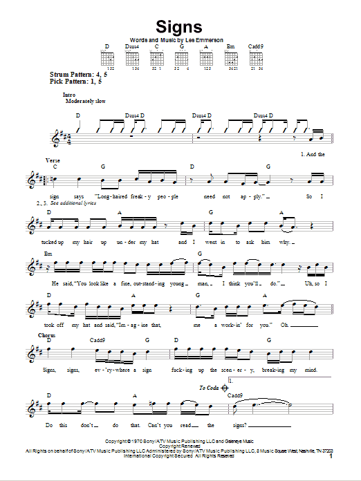 Five Man Electrical Band Signs sheet music notes and chords. Download Printable PDF.