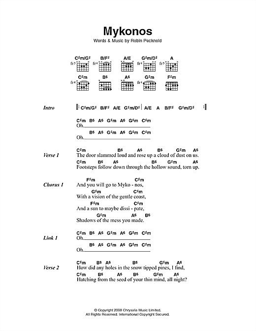 Fleet Foxes Mykonos sheet music notes and chords. Download Printable PDF.