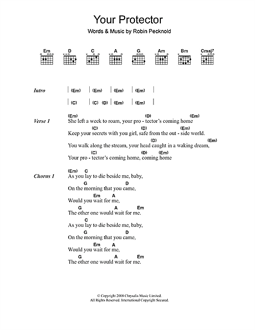 Fleet Foxes Your Protector sheet music notes and chords. Download Printable PDF.