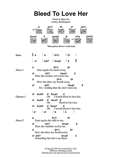 Fleetwood Mac Bleed To Love Her sheet music notes and chords. Download Printable PDF.