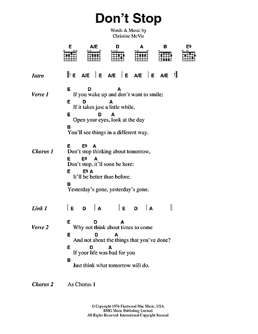 Fleetwood Mac Don't Stop sheet music notes and chords. Download Printable PDF.