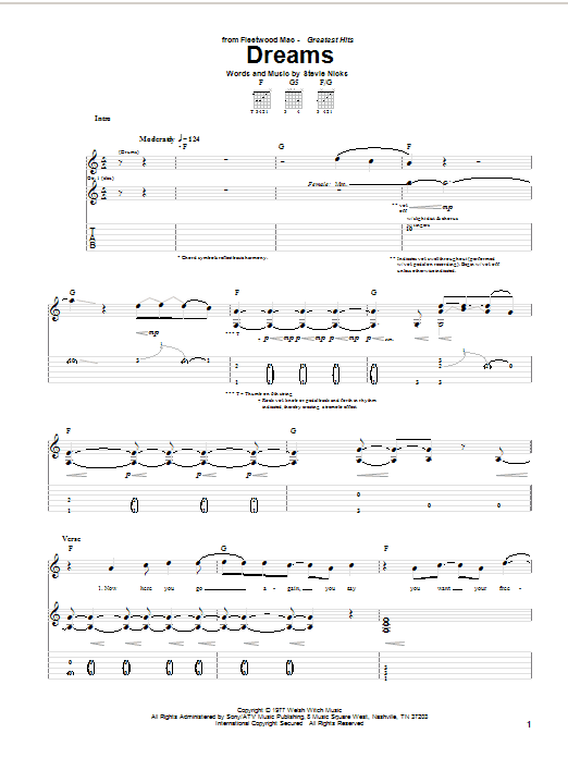 Fleetwood Mac Dreams sheet music notes and chords. Download Printable PDF.