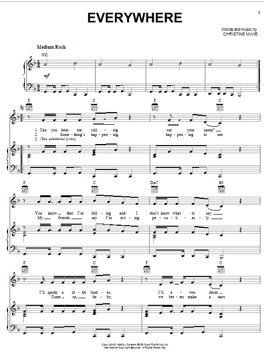 Fleetwood Mac Everywhere sheet music notes and chords. Download Printable PDF.