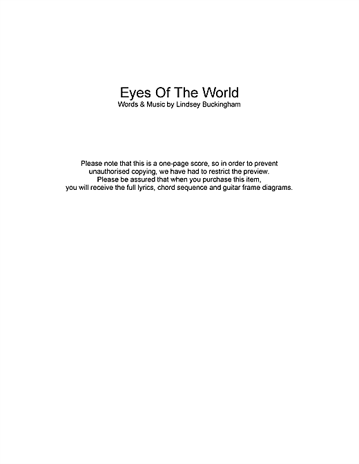 Fleetwood Mac Eyes Of The World sheet music notes and chords. Download Printable PDF.