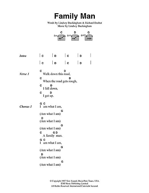 Fleetwood Mac Family Man sheet music notes and chords. Download Printable PDF.