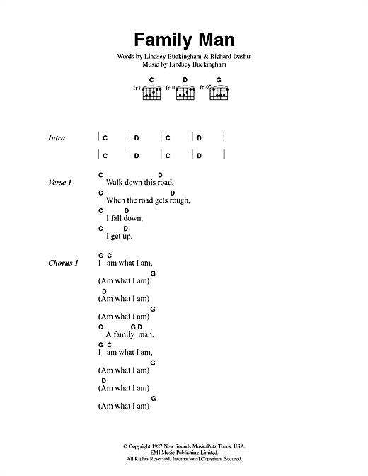 Fleetwood Mac Family Man sheet music notes and chords. Download Printable PDF.
