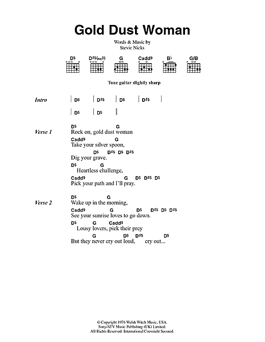 Fleetwood Mac Gold Dust Woman sheet music notes and chords. Download Printable PDF.