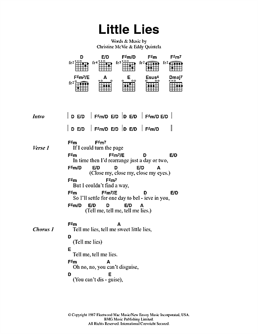 Fleetwood Mac Little Lies sheet music notes and chords. Download Printable PDF.