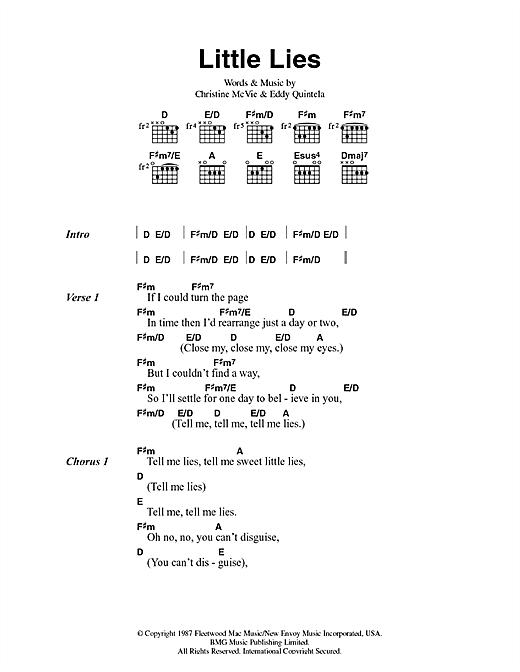 Fleetwood Mac Little Lies sheet music notes and chords