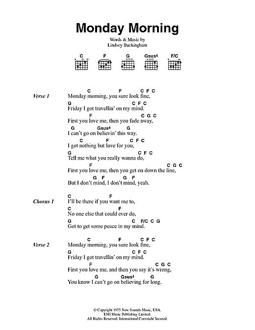 Fleetwood Mac Monday Morning sheet music notes and chords. Download Printable PDF.