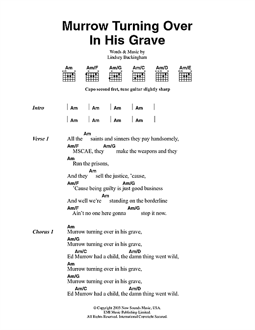 Fleetwood Mac Murrow Turning Over In His Grave sheet music notes and chords. Download Printable PDF.