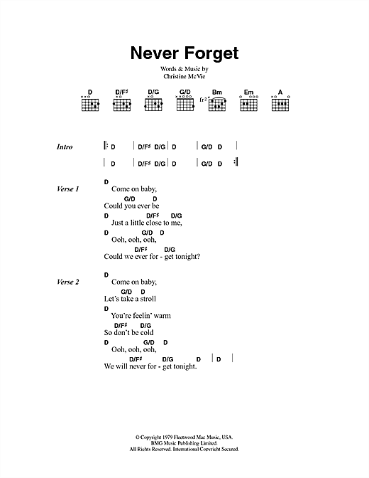 Fleetwood Mac Never Forget sheet music notes and chords. Download Printable PDF.