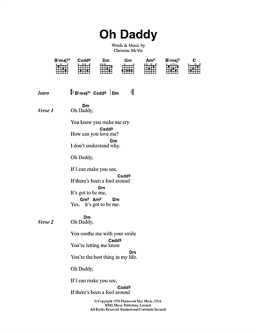 Fleetwood Mac Oh Daddy sheet music notes and chords. Download Printable PDF.
