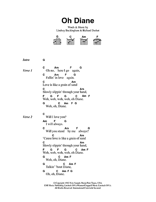 Fleetwood Mac Oh Diane sheet music notes and chords. Download Printable PDF.