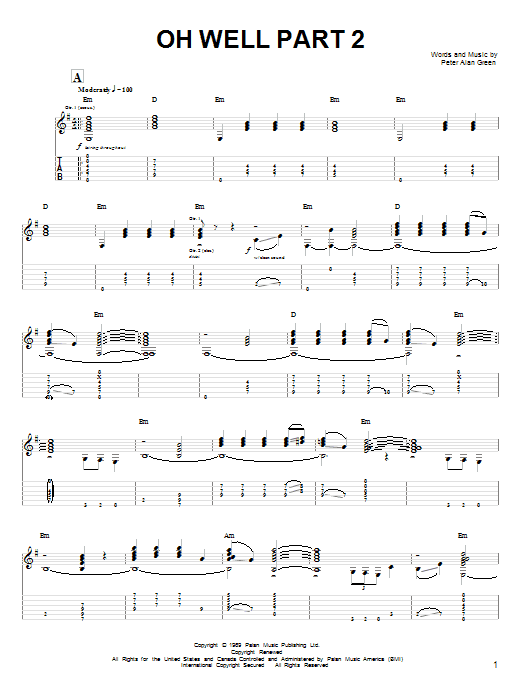 Fleetwood Mac Oh Well Part 2 sheet music notes and chords
