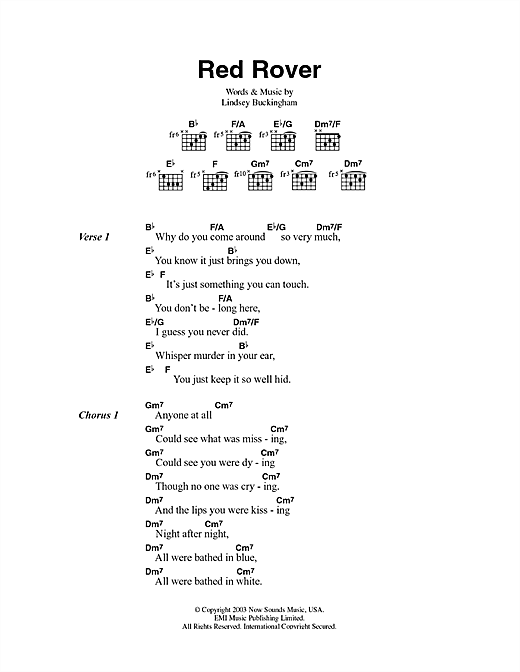 Fleetwood Mac Red Rover sheet music notes and chords. Download Printable PDF.