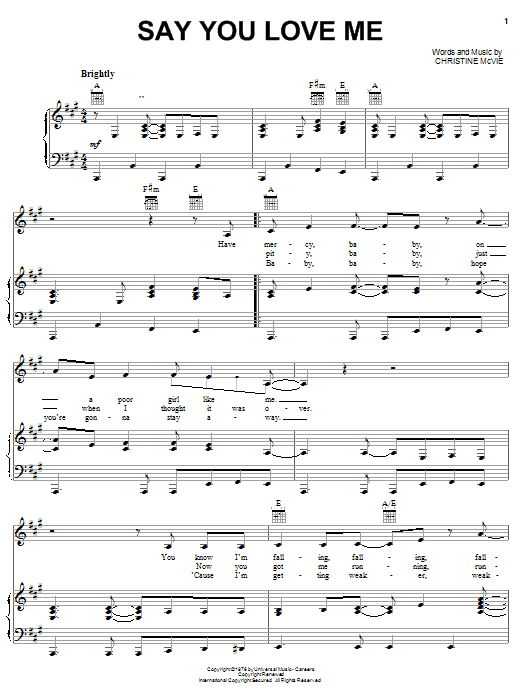 Fleetwood Mac Say You Love Me sheet music notes and chords. Download Printable PDF.