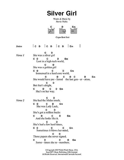 Fleetwood Mac Silver Girl sheet music notes and chords. Download Printable PDF.