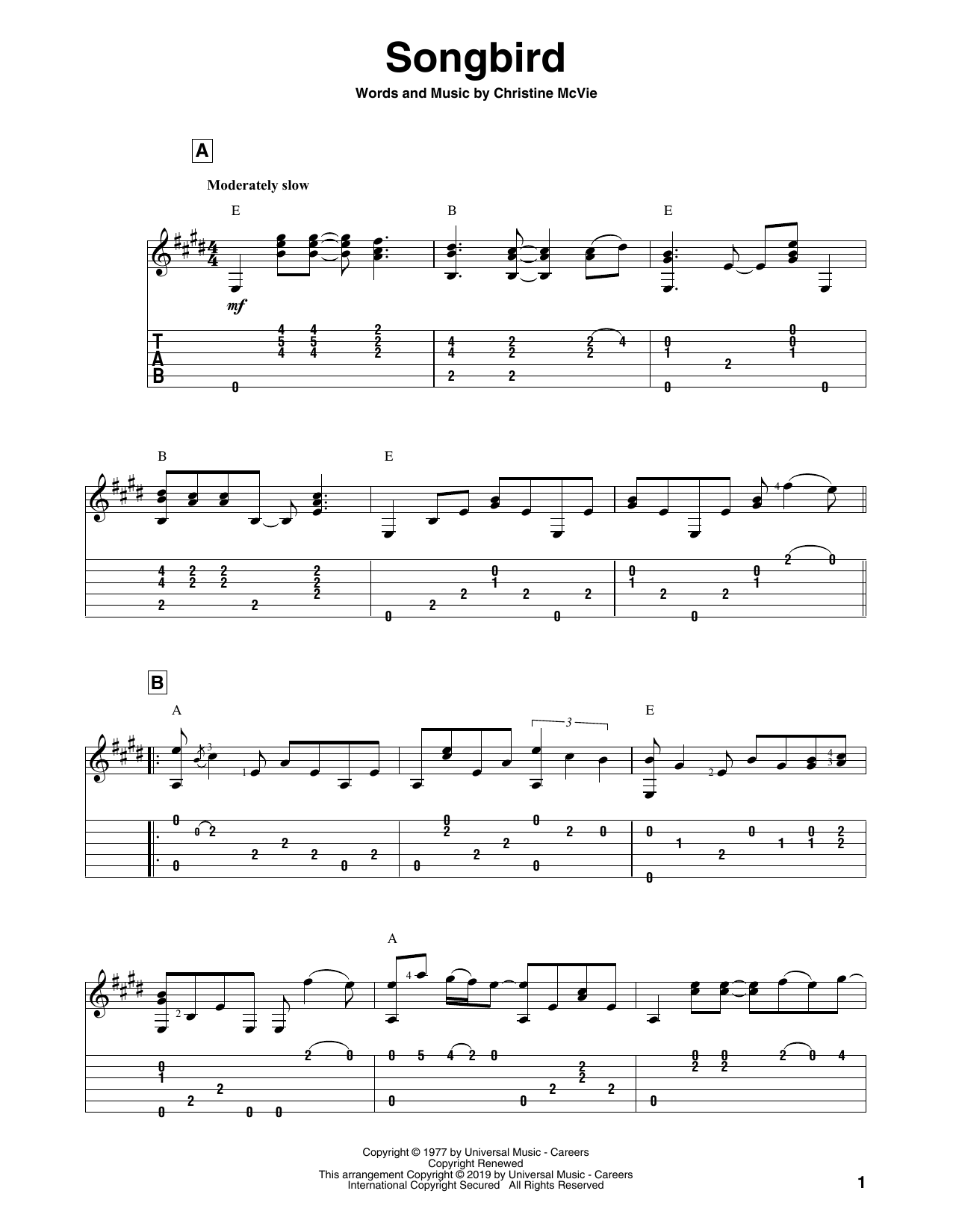 Fleetwood Mac Songbird sheet music notes and chords. Download Printable PDF.