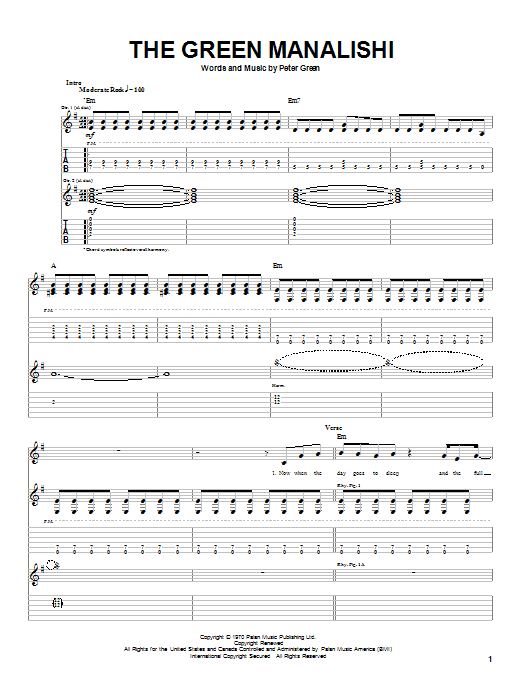 Fleetwood Mac The Green Manalishi sheet music notes and chords. Download Printable PDF.