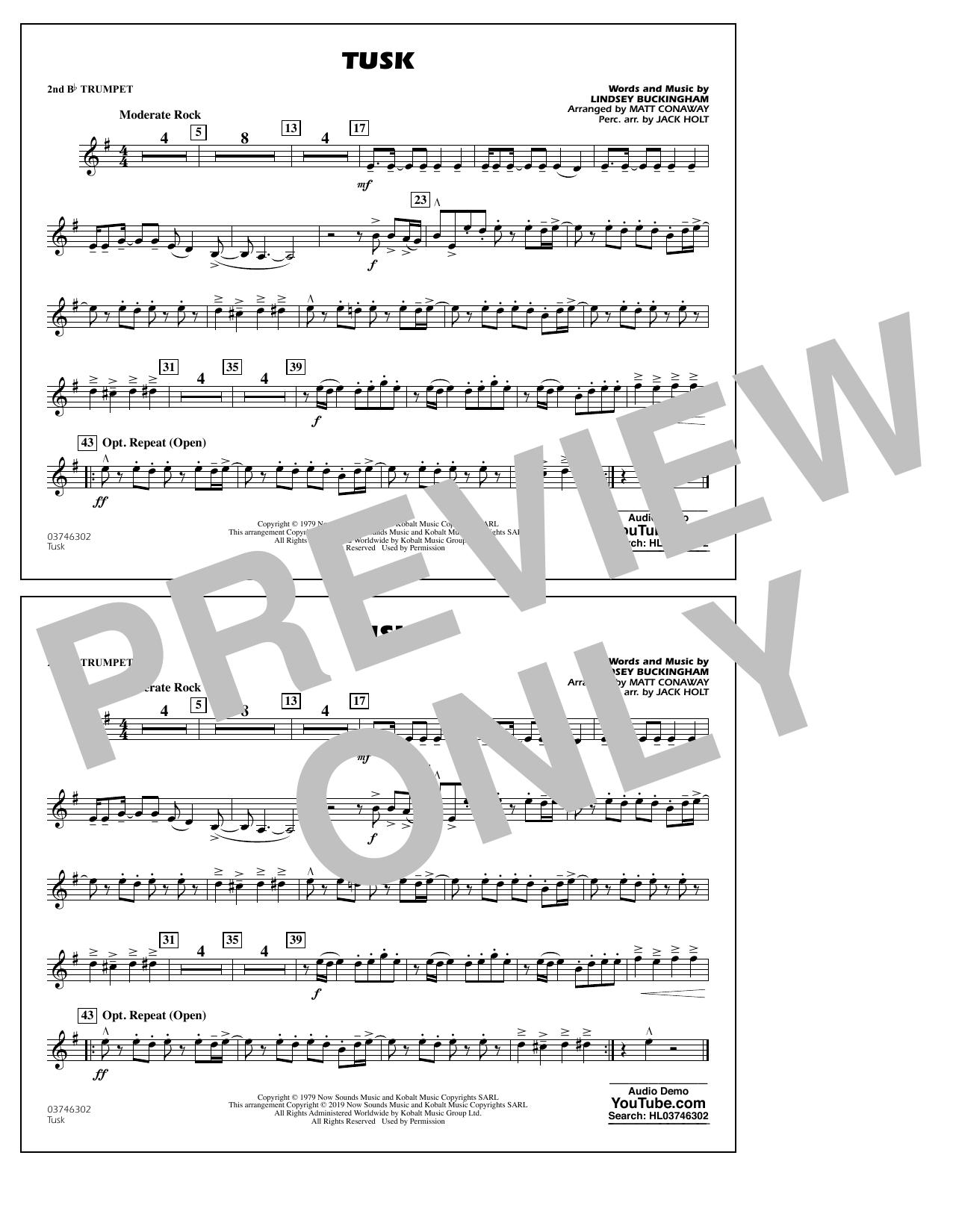 Fleetwood Mac Tusk (arr. Matt Conaway) - 2nd Bb Trumpet sheet music notes and chords