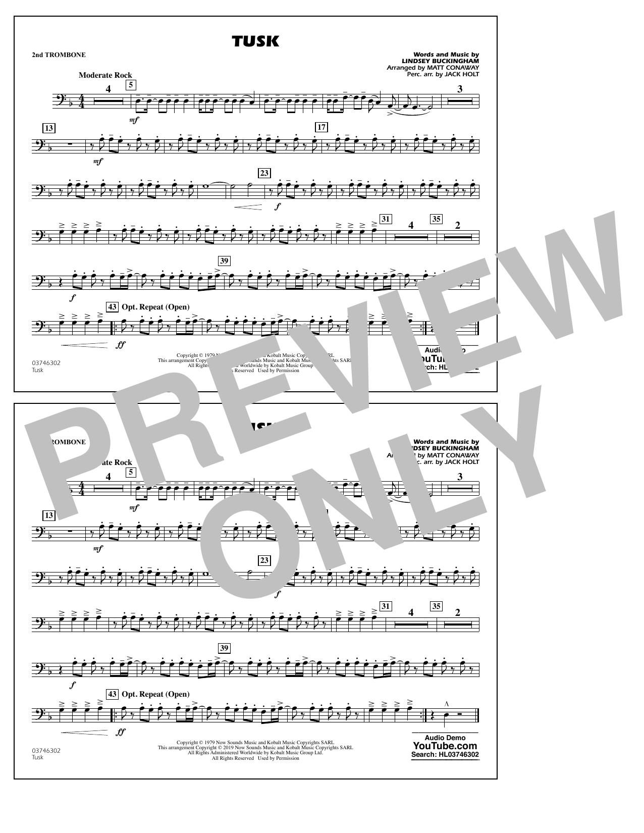 Fleetwood Mac Tusk (arr. Matt Conaway) - 2nd Trombone sheet music notes and chords. Download Printable PDF.